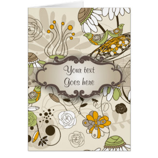 Green Birds and Flowers on Tan with Nameplate Greeting Card