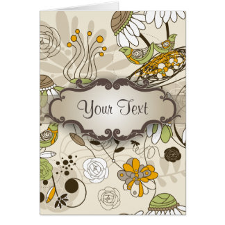 Green Birds and Flowers on Tan with Nameplate Note Card
