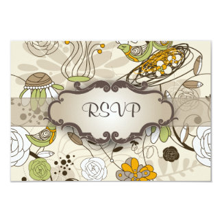 Green Birds and Flowers on Tan with Nameplate 9 Cm X 13 Cm Invitation Card