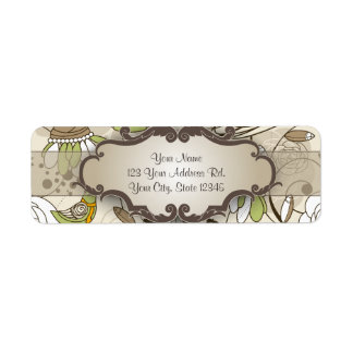 Green Birds and Flowers on Tan with Nameplate Return Address Label