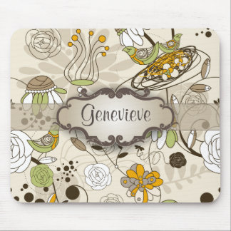 Green Birds and Flowers on Tan with Nameplate Mouse Pad