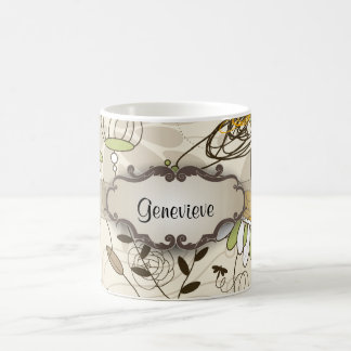 Green Birds and Flowers on Tan with Nameplate Mug