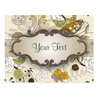 Green Birds and Flowers on Tan with Nameplate Postcard