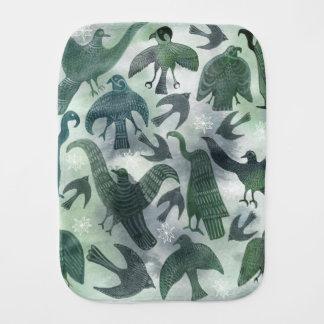 Green birds baby burp cloth