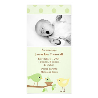 Green Birds Birth Announcement Photo Card Template