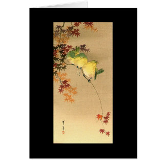 Green Birds on Maple Tree, Japanese Art c.1800s Greeting Card