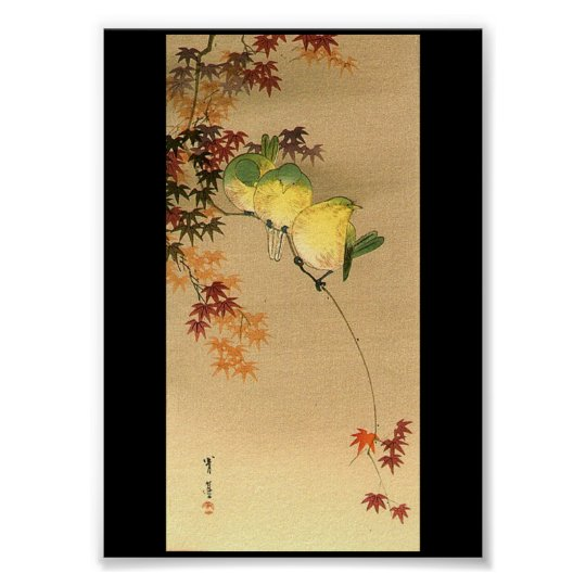 Green Birds on Maple Tree, Japanese Art c.1800s