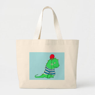 Green birthday Dinosaure with red balloon Tote Bags