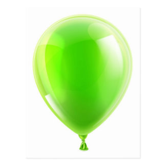 Green birthday or party balloon post card