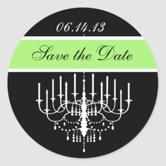 Green,  Bl/White Chandelier Save the Date Stickers