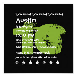GREEN BLACK 10th Birthday Party 10 Year Old V02B1 Invitation