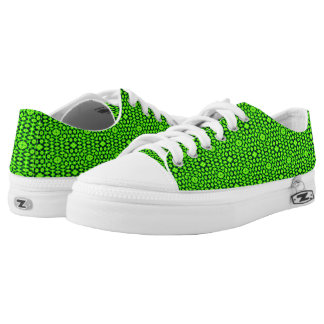 Green black abstract pattern printed shoes