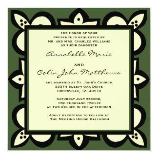 Green, Black, and Beige Wedding  Invitation