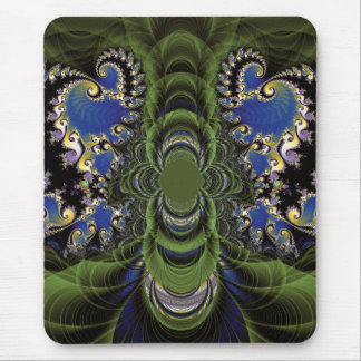 Green Black and Blue and Yellow Fractal Mousepad