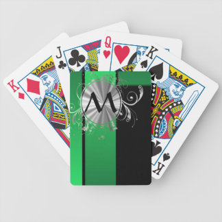 Green black and silver monogram bicycle playing cards