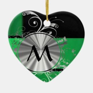 Green black and silver monogram christmas ornament