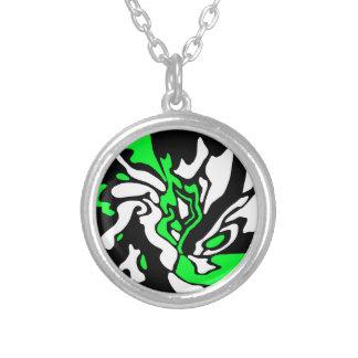 Green, black and white decor round pendant necklace