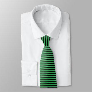 Green, Black and White Stripes Tie
