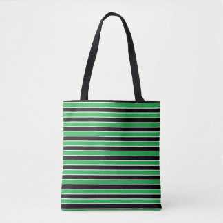 Green, Black and White Stripes Tote Bag