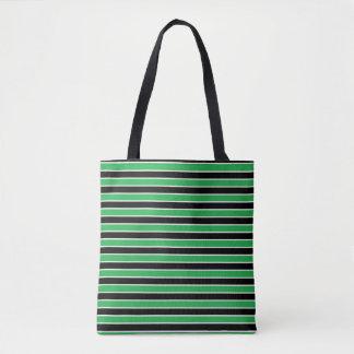 Green, Black and White Stripes Tote Bag