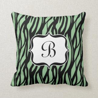 Green, Black and White Zebra Monogram Cushion