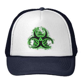 Green & black biohazard toxic warning sign symbol cap