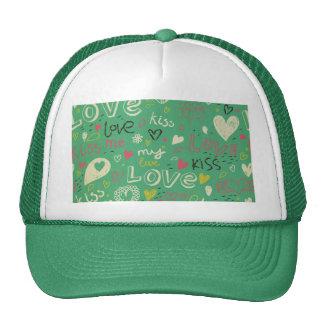 green black board chalk love language pattern cute trucker hats
