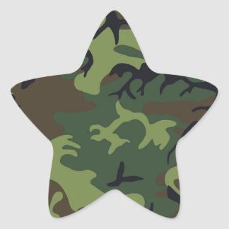 Green black brown camo camouflage military star sticker