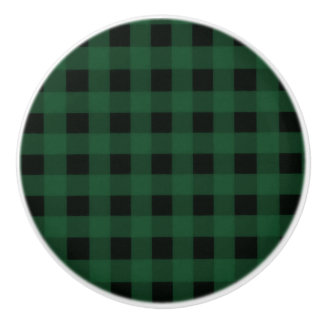 Green Black Buffalo Checker Plaid Country Rustic Ceramic Knob