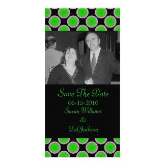 green black circles personalised photo card