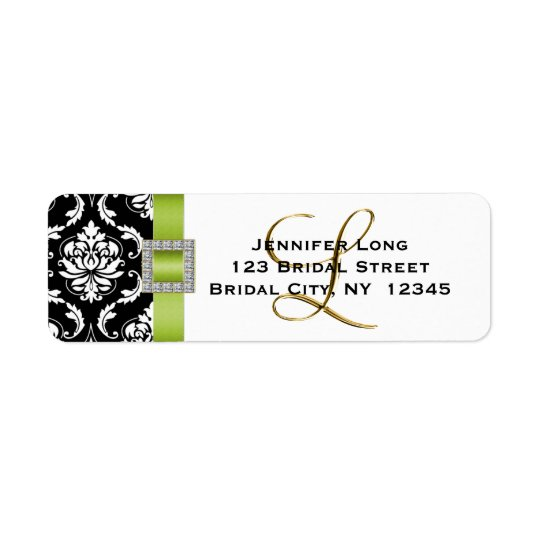 Green Black Damask Wedding RSVP Address Label