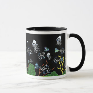 Green Black Fish Jellyfish Coral Mug
