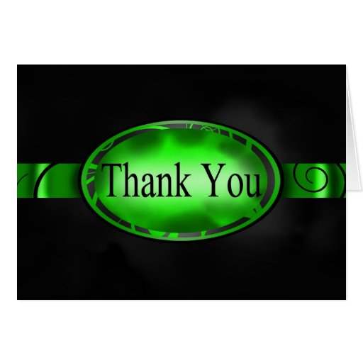Green & Black Floral Button Thank You Card