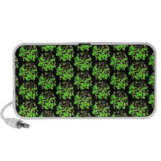 Green Black  Floral Dahlia Flower Pattern Laptop Speakers