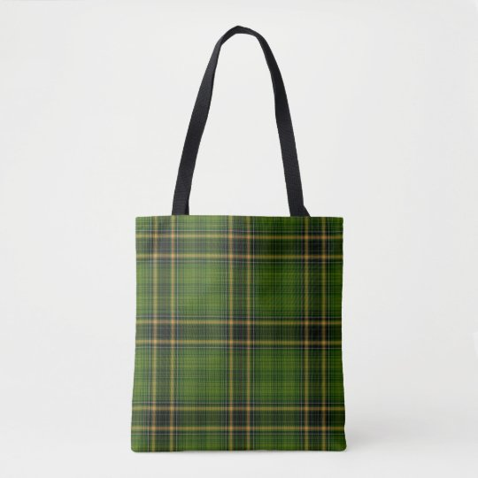 Green Black Gold Tartan Plaid Tote Bag