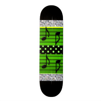 Green & Black Polka Dot Diamonds & Musical Notes Skateboard Deck