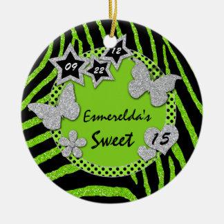 Green Black Silver Zebra Sweet 15 Photo Ornament
