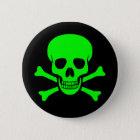 Green & Black Skull & Crossbones Button