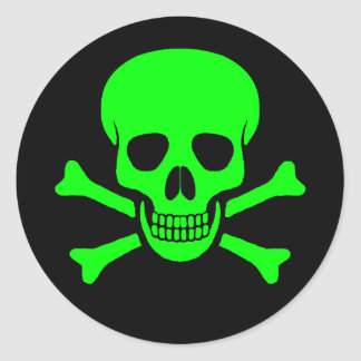 Green & Black Skull & Crossbones Sticker