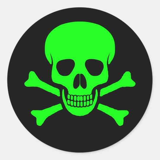 Green & Black Skull & Crossbones Sticker