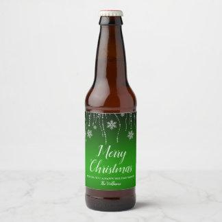 Green Black Sparkle Snowflakes Christmas Beer Bottle Label