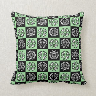 Green Black Square Pattern Throw Pillow