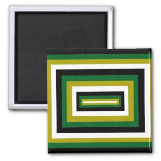 Green/Black Squares Fridge Magnet