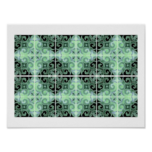 Green Black Swirl Inspired by Portuguese Azulejos Posters