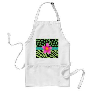 Green, Black & Teal Zebra & Cheetah Pink Flower Standard Apron