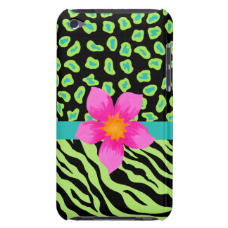 Green, Black & Teal Zebra & Cheetah Pink Flower Barely There iPod Cover