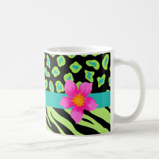Green, Black & Teal Zebra & Cheetah Pink Flower Mugs