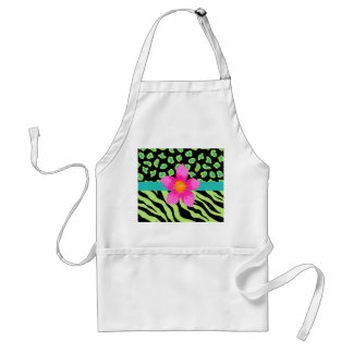 Green, Black & Teal Zebra & Cheetah Pink Flower Standard Apron