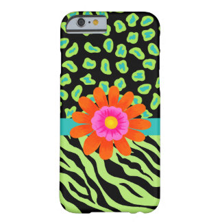 Green, Black Teal Zebra Leopard Skin Orange Flower Barely There iPhone 6 Case