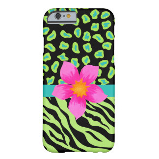 Green, Black & Teal Zebra Leopard Skin Pink Flower Barely There iPhone 6 Case